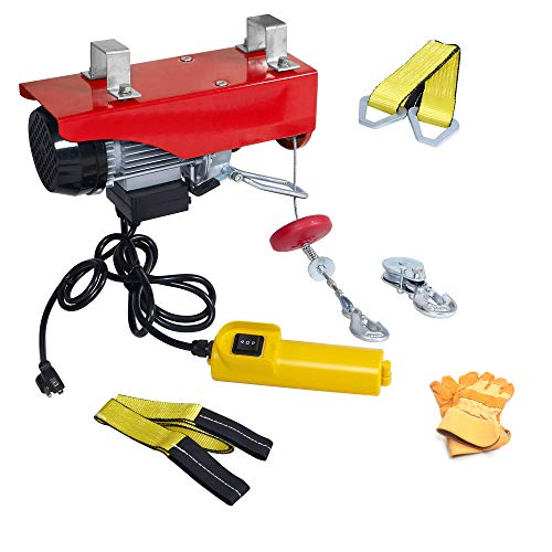 AC-DK 440 Lbs Lift Electric Cable Hoist with Crane Remote Control Power System, 110V Overhead Crane Garage Ceiling Pulley Winch, Hoist with Emergency Stop Control and Towing Strap Sling