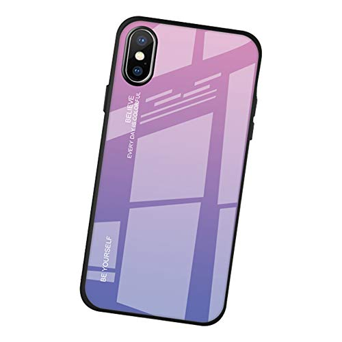 AIsoar Compatible with iPhone 6/6s Colored Gradient Tempered Glass Case,Tempered Glass Back Cover + Soft TPU Bumper Frame Shockproof Anti-Scratch Protective Cover Shell (Pink + Purple)