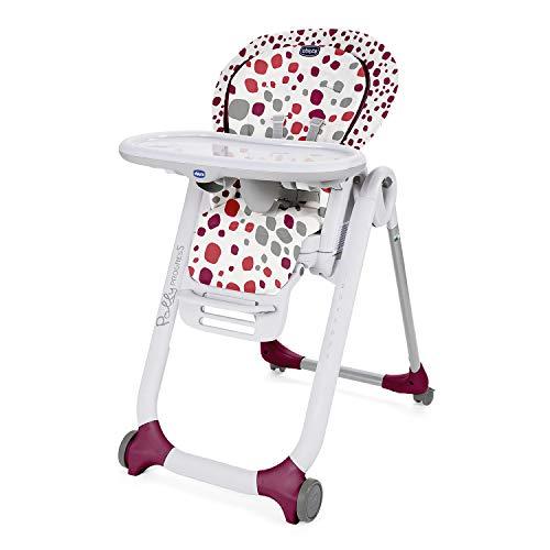 Chicco Polly Progres5 Verstellbarer Hochstuhl ab Geburt bis 3 Jahre (15 kg), Hochstuhl Baby mit Liegefunktion und Sitzerhöhung, mit 4 Rädern und Kompakter Schließung - Dunkelrot