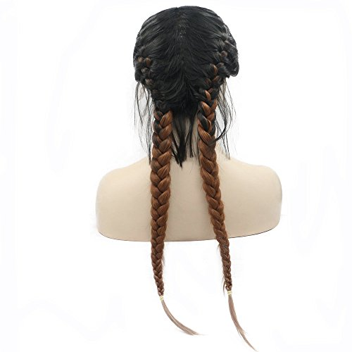 Drag Queen Long Braided Wigs Black Ombre Brown 2 Tone Color High Temperature Natural 2x Twist Braids Wigs with Baby Hair Synthetic Lace Front Wigs for Women Half Hand Tied Swiss Lace Glueless