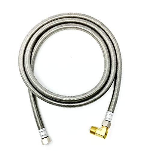 Shark Industrial Premium Stainless Steel Dishwasher Hose - 6 FT No-Lead Burst Proof Water Supply Line 3/8' comp x 3/8' comp with attached 90 degree 3/8' comp x 3/8' MIP elbow - 10 year warranty