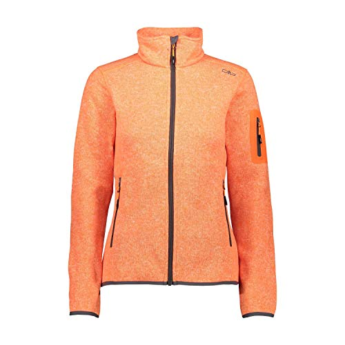 CMP Knit Tech Fleecejacke für Damen M Orange Fluo Mel.-graffite