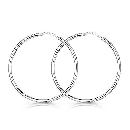 Amberta Cerchi in Argento Sterling 925 – Orecchini Creoli a cerchio – Diametro: 7 10 15 20 25 35 45 55 mm (35mm)