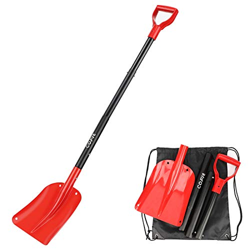 "COFIT 47"" Retractable Snow Shovel, Aluminium Alloy Snow Sand Mud Removal Tool for Car Outdoor Camping and Garden, Detachable Four-Piece Construction, Red and Black"