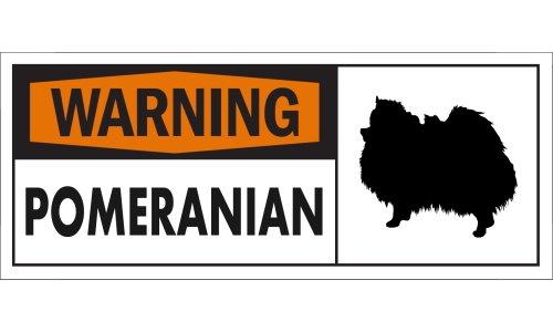 WARNING(Orange) POMERANIAN ワイドマグネットサイン:ポメラニアン Mサイズ