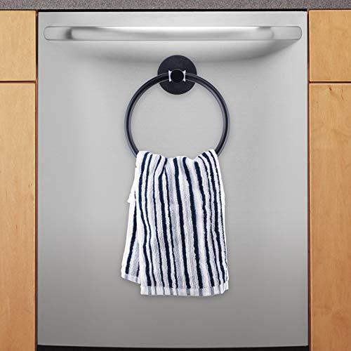 LEVOSHUA Magnetic Towel Ring Hand Towel Holder Towel Rack Towel Hook Hanger for Refrigerator, Kitchen Stove, Oven, Dishwasher, Sink, Laundry Washing Machine Black