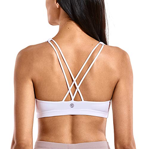 CRZ YOGA Women's Low Impact Strappy Sports Bra for Women Wirefree Padded Yoga Bra Tops White-H101 X-Small