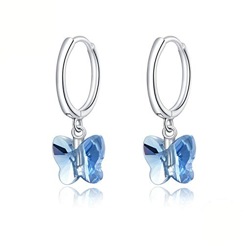 GaLon Pendientes del aro de la Mariposa de Plata cristalino de Las Mujeres S925 hipoalergénica