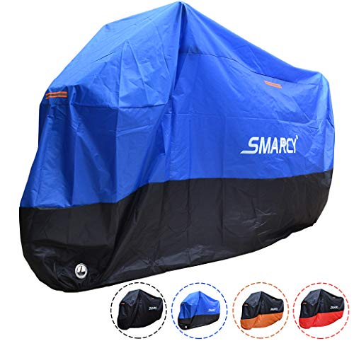 SMARCY® Motorradabdeckplane Motorradgarage Motorradabdeckung Wasserdicht Staubdicht Blau Schwarz XXXL