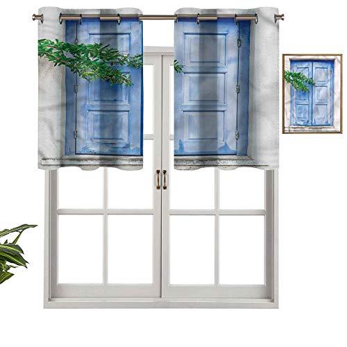 Hiiiman Cenefa recta de cortina con ojales, ventana griega mediterránea, juego de 1, 127 x 45 cm, ideal para cualquier habitación y dormitorio