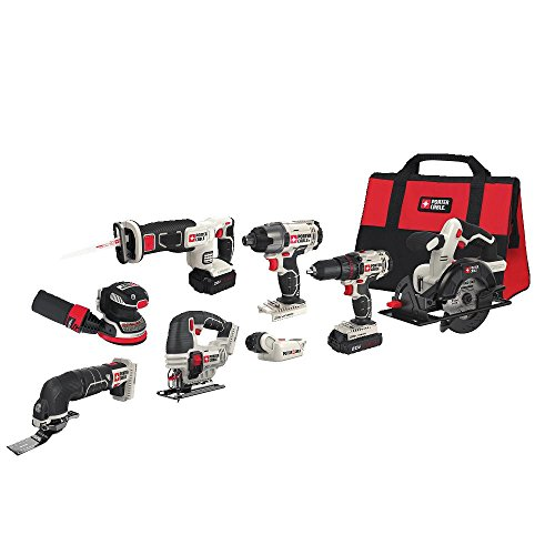 cheap PORTERKABEL 20V MAX cordless drill combination set, 8 tools (PCCK6118)