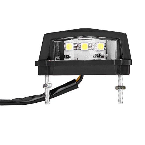 Lumière De Plaque D'immatriculation, Keenso 12V Universel Feux Arrière Ampoule de Frein Lampe de Freinage Feux de Signal de Moto Led Lumière Blanc