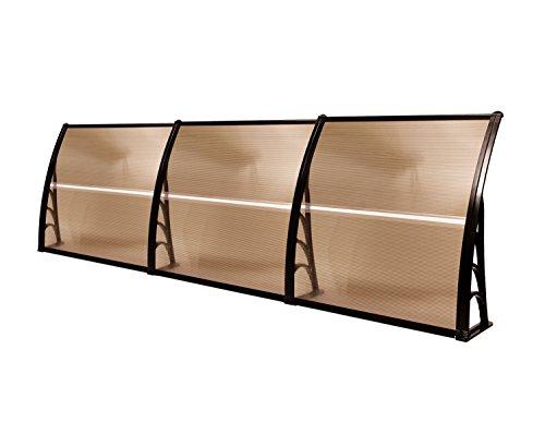 MCombo 116 inch / 78 inch / 39 inch Window Awning Outdoor Polycarbonate Hollow Sheet Door Patio Canopy (40''x120'', Dark Brown Canopy/Black Bracket)