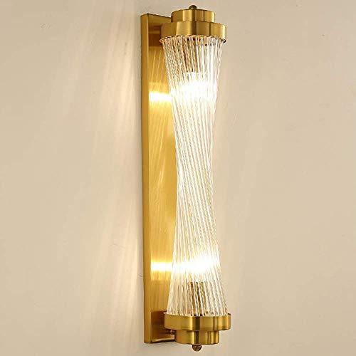 Lámpara de pared LED giratoria de acero inoxidable y cristal para pasillo, comedor, salón, estudio, dormitorio, escaleras, balcón, dorado, transparente, cálido y ligero, moderno y lujoso