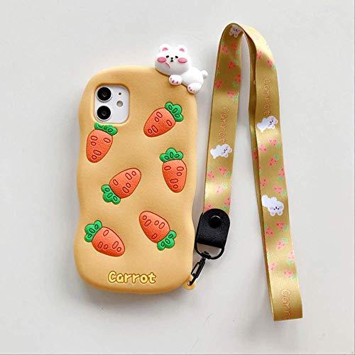 3D Cute Carrot Funda de teléfono de Silicona Suave para iPhone 11 Pro MAX 12 Mini Funda para iPhone XR X XS MAX 8 7 6Plus Fundas de teléfono de Dibujos Animados para iPhone 6 6S Plus A