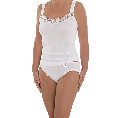 comazo Damen Unterhemd - 2er Pack - Top mit hochwertiger Spitze - Wäsche aus Micro-Modal - Auch für große Größen geeignet - Farbe Weiß - Gr. 44