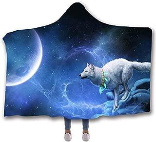 GOLDT1 Adult Hooded Blanket Wolf Totem Hooded Blue and Orange Wolf Sherpa Blanket 80