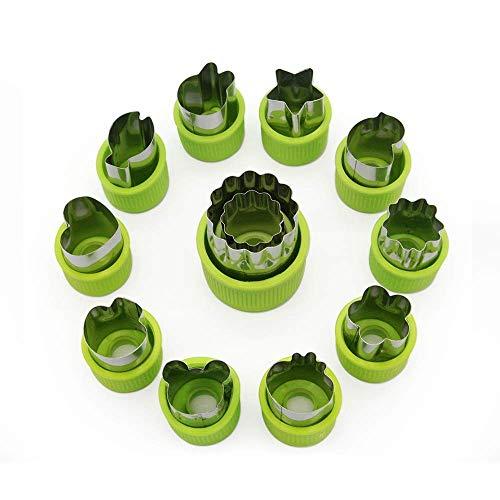 Set de cortador de vegetales (12 piezas) para niños - Mini vegetal de acero inoxidable, fruta, cortadores de galletas, Molde de animales con forma de corazón de estrellas de flores para decorar el kit