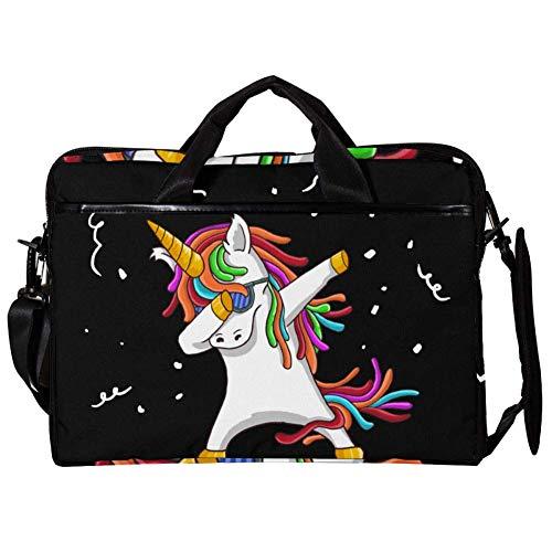 Kühles weißes Einhorn Laptop Tasche Umhängetasche Handtasche Leinwand 15-15.4 Zoll Computer Tasche für Business/Arbeit/Schule/Reisen 38x28cm