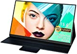 Portable Monitor 15.6 Inch,100% DCI-P3, 99% Adobe RGB, 500 Nits Brightness, FHD 1080P IPS Screen, Computer Display with USB C HDMI Dual Speakers for Laptop PC MAC Phone Switch Xbox PS4/PS3