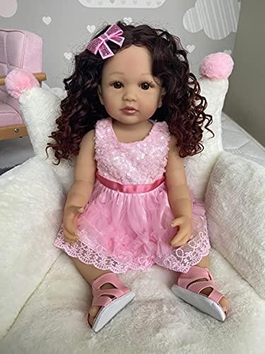 Zero Pam Realistic 22 inch 55 cm Alive Reborn Baby Doll Lifelike Caucasian Child Handmade Full Body Soft Vinyl Doll Anatomically Correct Toddler Girl Doll