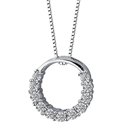 HUKJ Collar De Plata S925 Colgante De Anillo De Diamante Simple Femenino, Temperamento Forma Geométrica Cadena De Clavícula Femenina