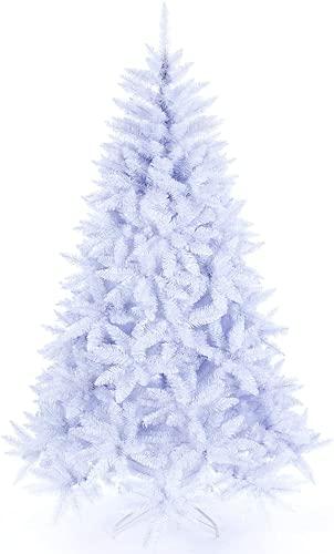 Michellda Albero di Natale in PVC, facile da montare, con supporto in metallo, 180 cm, bianco