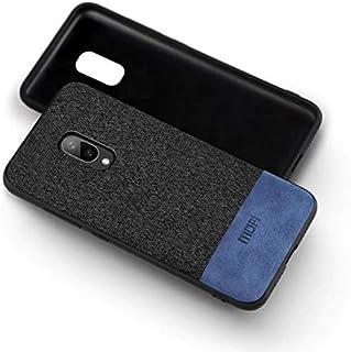 MOFI Case - OnePlus 7 Case, Black fabric, Blue Leather