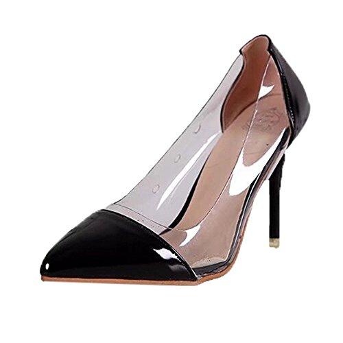 Rcool Zapatos de tacón zapatos de tacón alto mujer zapatos de tacón transparentes,Zapatos de fiesta de boda con cordones y tacones altos transparentes para mujer
