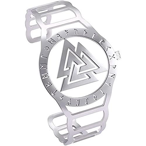 LH&BD Pulsera con Símbolo De Odin Vikingo Nórdico con Forma De Reloj De Acero Inoxidable Diseño Hueco Grabado Brazalete De 24 Runas,B