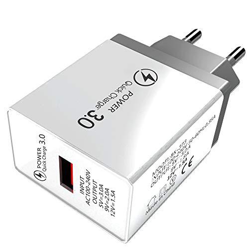 Cargador de Teléfono Móvil Rápido de Viaje con Puerto Único Inalámbrico 3A Cargador de Pared USB de 3000Ma Adaptador QC 3 0 Bloque de Cargador Rápido Compatible con La Mayoría de