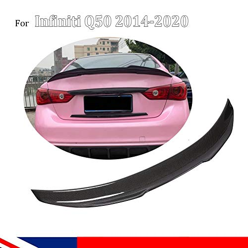 TGFOF Real Carbon Fiber Spoiler fit for Infiniti Q50 Q50S Sedan 2014-2020 Rear Trunk Lid Spoiler Wing Duckbill PSM Type