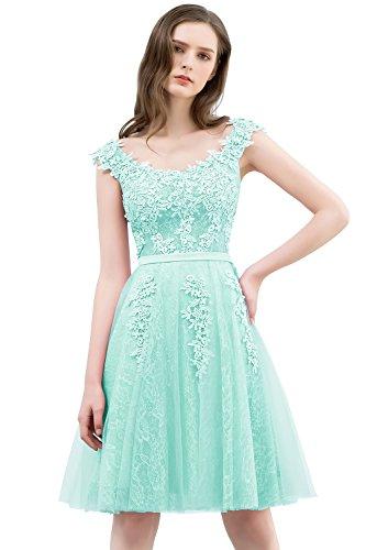 Damen Prinzessin A-Linie Ärmellos Abschlusskleid Tüll Abiballkleid mit Blumenstickerei rückenfrei...