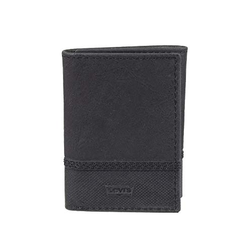 Levi's Men's Genuine Leather Trifold - Big Skinny Wallet with RFID Security for Credit Cards with 2 ID Windows, Black Vintage, One sizee