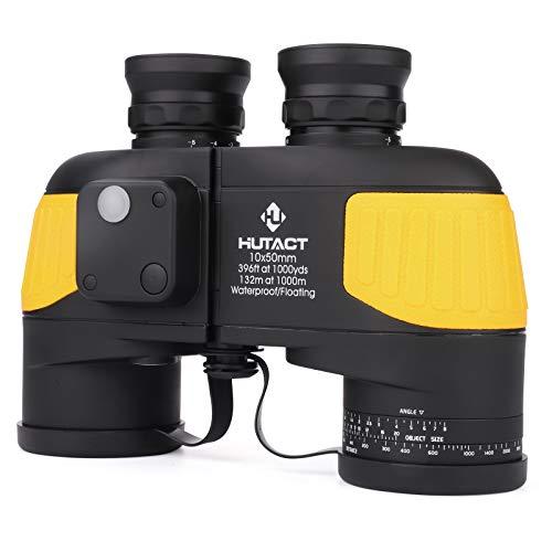 Prismáticos HUTACT 10x50 con visión Clara y débil - Prismáticos para observación de Aves y Deportes de Caza - Ocular Grande (23 mm