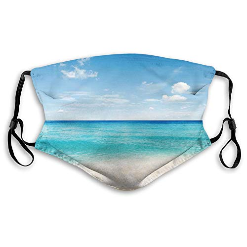Comfortable Printed mask,Ocean, Tropical Carribean Sea Shore Sand Beach Blue Calm Serene Peaceful Waters, Blue Aqua and White,Windproof Facial decorations for Adults Size:M