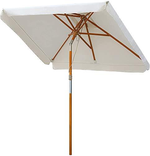 MVPower Ombrellone da Giardino, Ombrellone Rettangolare 200 x 150cm, Ombrellone Parasole Protezione Solare UV50+, Color Crema