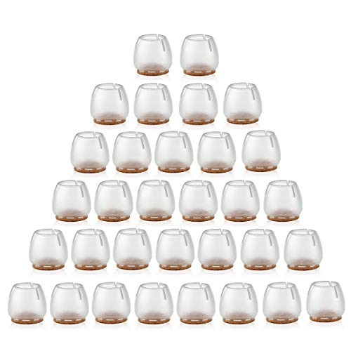 NUOLUX Chair Leg Caps Feet Pads Furniture Table Covers Floor Protectors Silicone Legs 32Pcs (Transparent+Brown)