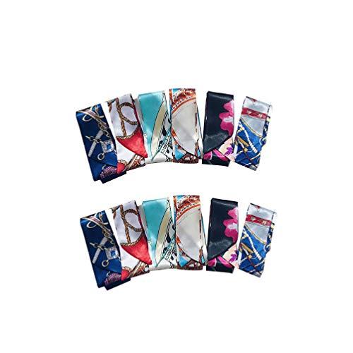 Healifty 12 Pcs Bandeaux en Soie Bandes de Cheveux Sac à Main Poignée Écharpe Paquet Turban Tête Wrap Satin Cheveux Accessoires pour Femmes Filles (Style Mixte)