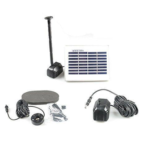 ASC 1.3-watt Solar Fountain Pond Water Pump with Battery Timer and LED Light
