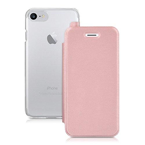 kwmobile Hülle kompatibel mit Apple iPhone 7/8 / SE (2020) - Handy Case Handyhülle - Schutzhülle Klapphülle Rosegold Transparent