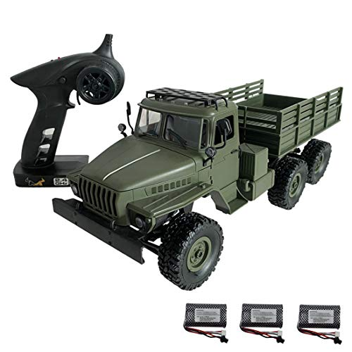 Myste RC Militär Truck mit LED-Leuchten, 1:16 2.4G 6WD RC Ferngesteuertes Auto Militärfahrzeug Jeep Geländewagen RC Offroad LKW Ferngesteuerte Baufahrzeuge für Erwachsene und Kinder