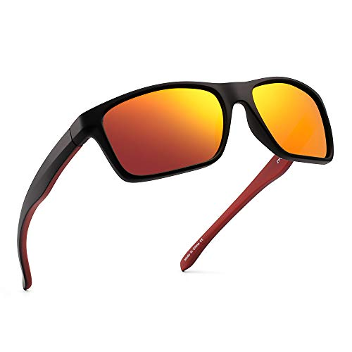 JIM HALO Polarizadas Deportivas Gafas de Sol de Espejo Wrap Alrededor Conducir Pescar Hombre Mujer(Negro/Naranja Espejo)