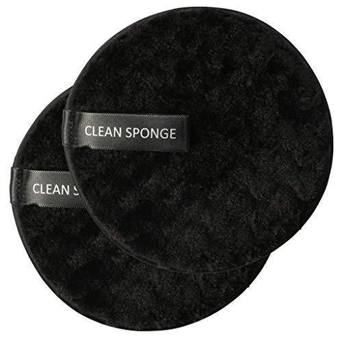 Démaquillage Éponge Flutter, Fulltime 2pc démaquillant serviette chiffon de nettoyage du visage pad en peluche bouffée paresseux double-face microfibre démaquillant puff (noir)