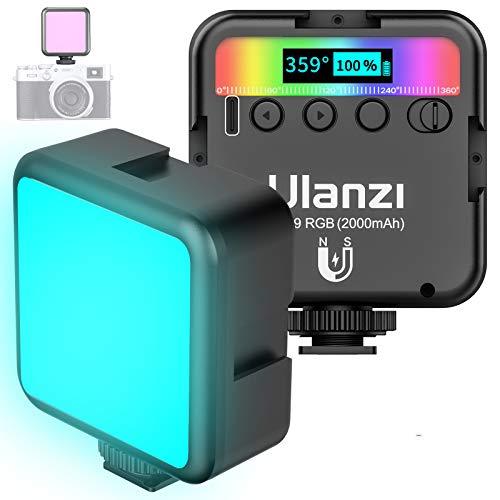 VIJIM RGB Luz de Video LED en la Cámara con 3 Zapatas Frías, luz de Video LED Mini Recargable Mejorada de 2000 mAh, Lámpara de Fotografía Profesional CRI95+ Regulable 9000K para Grabación de Vlogs