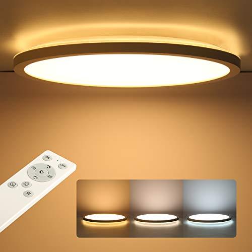 Lámpara LED de techo plana, regulable, con mando a distancia, redonda, 24 W, 2400 lm, IP44, 2,5 cm, ultrafina, 30 x 30 cm, color blanco para dormitorio, baño, habitación de los niños o pasillo