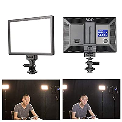 SUPON L122T Ultra-Thin LED Video Light Panel with LCD Display, Dimmable Bi-Color 3300K-5600K, CRI95+ Softer Lighting for Studio, Outdoor Shooting, Portraits, Children, Wedding, YouTube, Interview