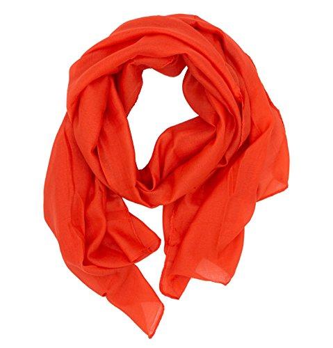 DOLCE ABBRACCIO by RiemTEX WILD CAT Damen Schal Halstuch Tuch aus Chiffon für Frühling Sommer Ganzjährig (Orange)