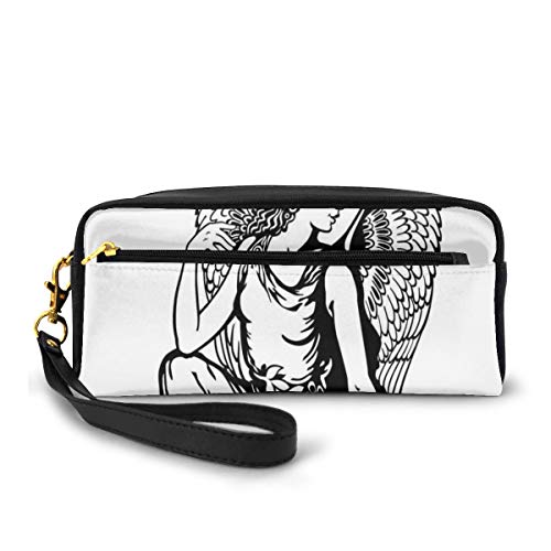 Pencil Case Pen Bag Pouch Stationary,Young Woman Artistic Figure with Angel Wings Monochrome Tattoo Art Design,Small Makeup Bag Coin Purse