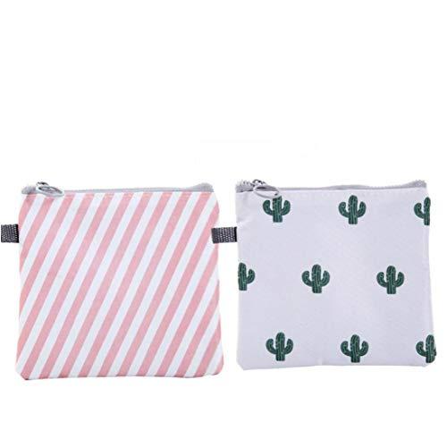 Servilletas sanitarias bolsa tampones con cremallera, bolsa organizadora impermeable servilletas de enfermería soporte para mujeres y niñas, diseño de cactus a rayas, 2 piezas productos para el hogar